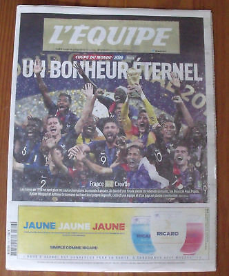 FRANCE ** COUPE DU MONDE FOOTBALL RUSSIA 2018 Journal L'EQUIPE 16 JUILLET 2018