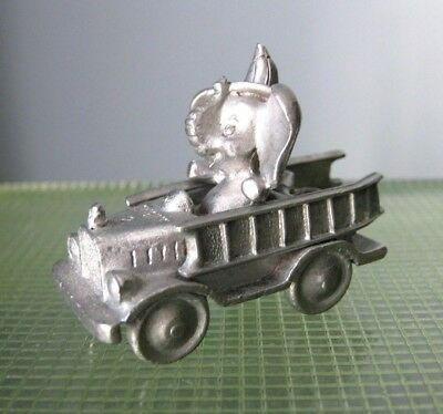 SPOONTIQUES PEWTER  Miniature ELEPHANT Firefighter in Fire Truck Vintage 1987