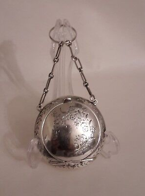 Sterling Silver Ring Finger/chatelaine Compact Floral  H/m J Gloster 1914