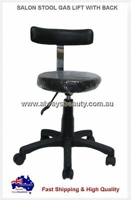 SALON STOOL GAS LIFT WITH BACK Black Chair Strong Base Wheels Oz Stock