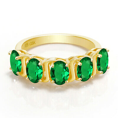 2.00 Ct Oval Green Simulated Emerald 18K Yellow Gold Plated Silver Ring