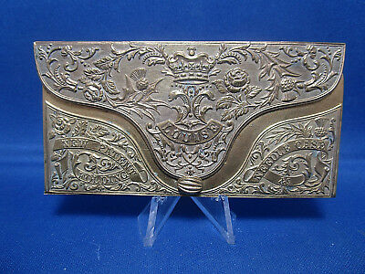 Rare Antique Gilt Brass Folding Needle Case Wm Hall & Co Studley