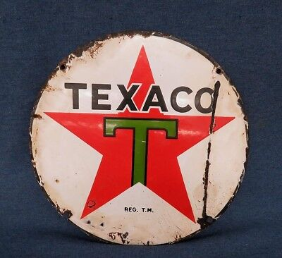 "Texaco Porcelain Metal One Sided Star Sign 14 7/8"" As Shown"