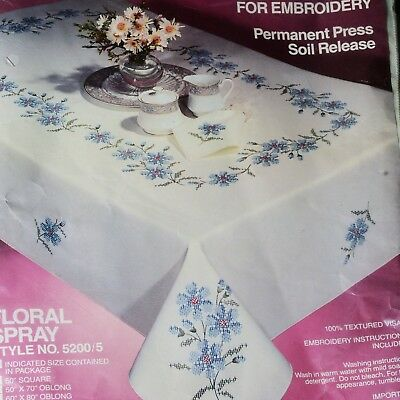 "Tobin Stamped Embroidery Flowers Tablecloth w/Floss & 6 Napkins 60"" X 90"" Oblong"