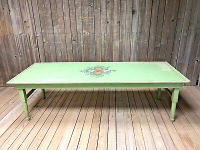Vintage WOOD FOLDING TABLE Green shabby cottage chic coffee painted accent folk