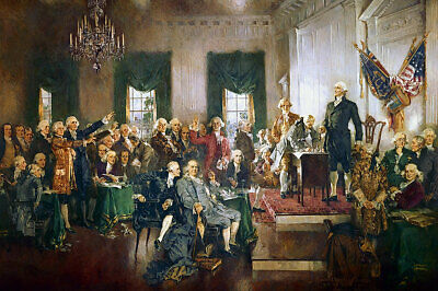 SIGNING OF THE CONSTITUTION PAINTING 16x24 SILVER HALIDE PHOTO PRINT