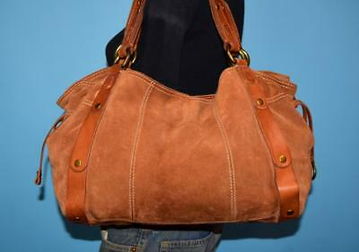 LUCKY BRAND Large Brown Suede Leather Slouch Shoulder Boho Hobo Tassel Purse  Bag bbe0306c41645