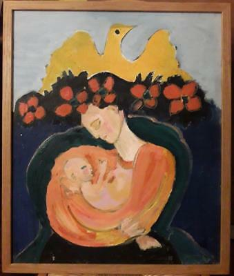 Fantastic Oil Study Of 'mother & Baby With Dove' - Philip Thompson