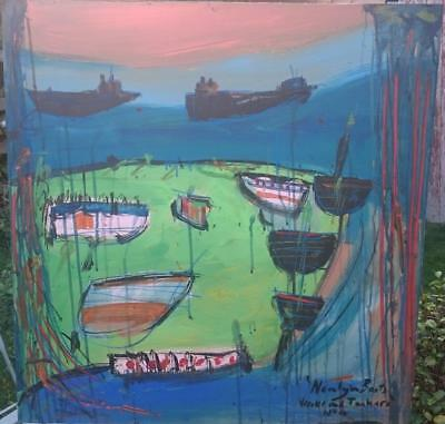 Large Stunning Newlyn/cornish School  - Superb Abstract Harbour Study