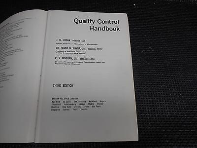 Old Vtg 1951/1974 Book QUALITY CONTOL HANDBOOK Reference Work Managers Engineers
