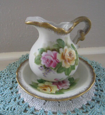 Vintage Lefton Hand Painted Roses Small Pitcher and Bowl Basin Pattern # SL 764