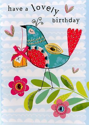 Embellished Peacock Happy Birthday Card Handfinished Greeting Cards