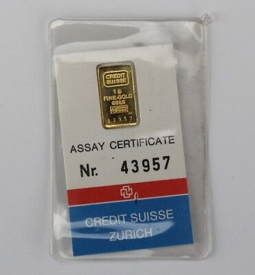 1 Gram CREDIT SUISSE 24k Fine Gold Bar Sealed w Original Assay Certificate NKE