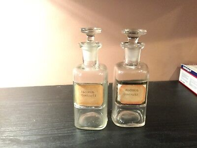 2 Vintage/Antique Glass Jar Bottles With Glass Stoppers Doctors Medical Pharmacy