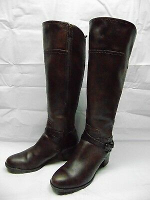 52e3acbb79dd0 MARC FISHER Womens 'Alexis' Brown Leather Tall Wide Calf Riding Boots Size  ...