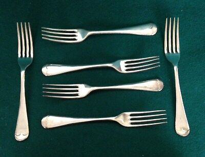 Vintage Set 6 Silver Plated Dessert, Pudding or Salad Forks Old English Pattern