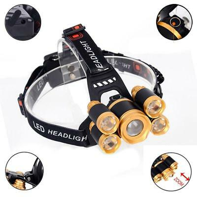 80000LM 5-LED Zoom LED Waterproof Rechargeable Headlamp Head Light Torch