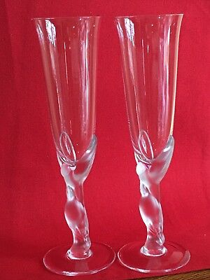 Faberge Champagne Flutes-A Pair(2 Flutes)of Kissing Dove Crystal-Made in France