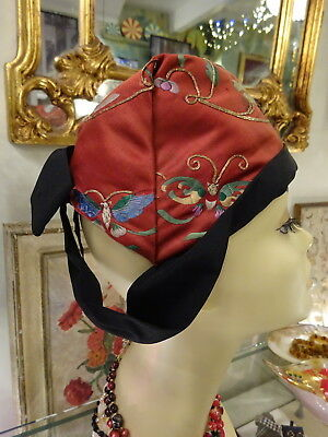 A 1930s Millinery Hat with Chinese Silk Embroidery Textile Butterflies