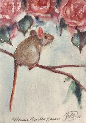 Mice ACEO Original mouse roses painting mice fine art pet animal Originals USA