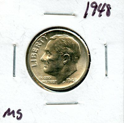 1948 10c United States Silver Roosevelt Dime 10c Coin UL731