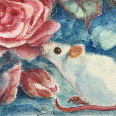 ACEO Original painting mouse Rose Mice flowers Wildlife art artwork Originals
