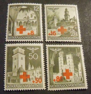Third Reich General Government 1940 RED CROSS - Buildings stamp set -MH-