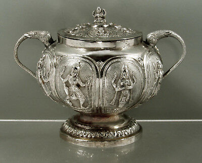 Indian Silver Bowl   TEA CADDY   c1890     - DIETY  ELEPHANT HANDLES