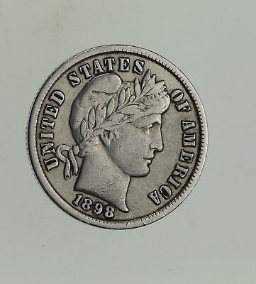 Higher Grade - 1898 Barber Liberty US Silver Dime - Great Detail in LIBERTY *565