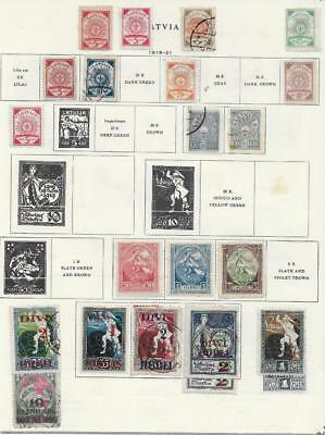 22 Latvia Stamps from Quality Old Album 1918-1921