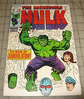 The Incredible HULK #116 (June 1969) High Grade Cond Comic - Eve of Annihilation