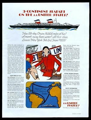 1967 S.S. SS United States ship art woman and cheetah US Lines vintage print ad