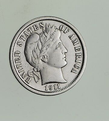 Higher Grade - 1911 Barber Liberty US Silver Dime - Great Detail in LIBERTY *558
