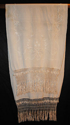 Antique Canton Embroidered White Scarf 1920's Wrap WithTassels
