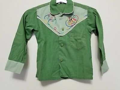 Adorable c.1950s JC Penneys Boys Vintage Embroidered Cotton Cowboy Western Shirt