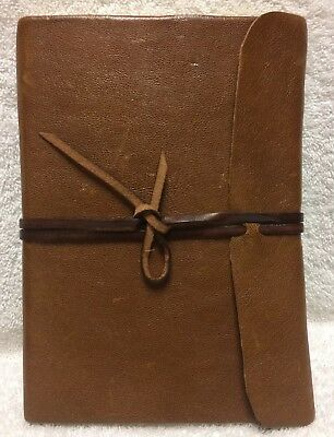 Italian Brown Leather Journal Book Notebook Sketch 6 x 11.5 Made In Tuscany