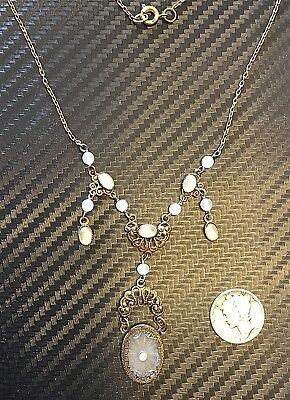 Vintage French Matted Frosted Crystal & Brass Detailed Necklace Only One