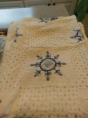 Vtg. Large Linen Hand Embroidered Tablecloth