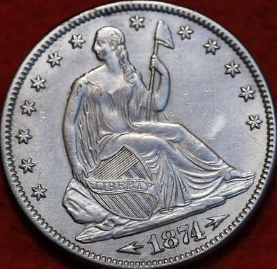 1874 Philadelphia Mint Silver Seated Half Dollar with Arrows