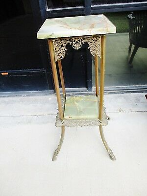 French Victorian Aesthetic Brass And Onyx Plantstand Pedestal