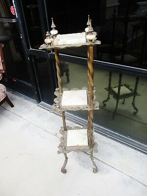French Victorian Aesthetic Brass & Metal W/ Onyx Tiered Plantstand Pedestal