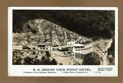 "RPPC Bedford,PA Pennsylvania, S.S.Grand View Point Hotel ""steamer in Allegheny"""