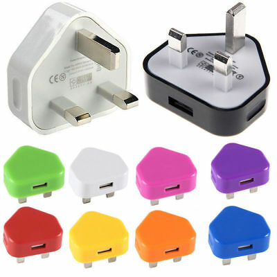 Mains Wall 3 Pin USB Plug Adaptor UK Charger Power USB Ports for Phones Tablets