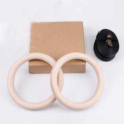 Olympic Exercise Wooden Gymnastic Rings Gym Fitness Training with Buckle Straps
