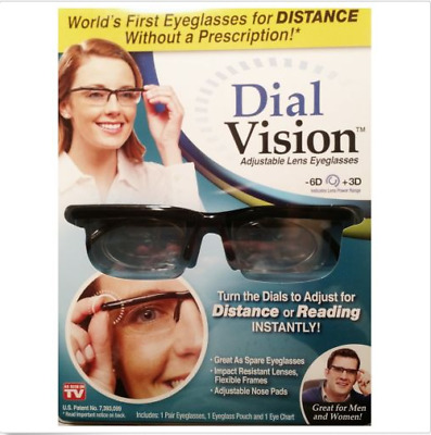 As Seen On TV Dial Vision Adjustable Lens Eyeglasses -6D +3D Free Eye Chart New