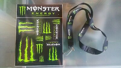 Planche stickers Monster Energy et  1 cordon tour de cou Monster Energy