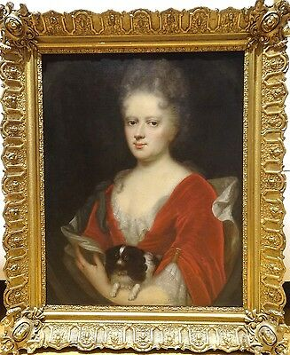 Large 18th Century French Lady & King Charles Spaniel Dog Portrait Oil Painting
