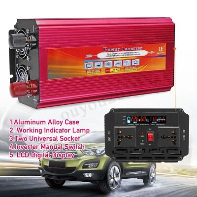 6000/9000/12000W Car Power Inverter 12/24V to 110/220V Sine Wave Converter 2 Fan