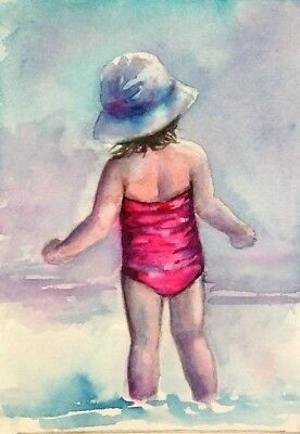 ACEO original baby painting child sea landscape watercolour art card