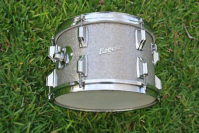 """1960's Rogers HOLIDAY SILVER SPARKLE 12"""" RIDE TOM for YOUR DRUM SET! LOT #A828"""